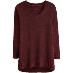 Tape Yarn Jumper (45 CAD) ❤ liked on Polyvore featuring tops, sweaters, red knit sweater, red top, red jumper, v neck sweater and v neck cami