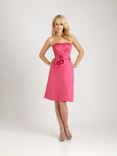 Strapless tea-length satin bridesmaid dress...watermelon was the color of my bridesmaids dresses and they were this length :)