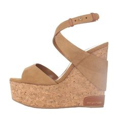 Sergio Rossi Suede and Cork Wedge ($415) ❤ liked on Polyvore