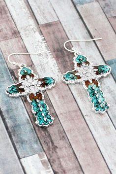 Crystal Navajo Mosaic Turquoise Cross Earrings #AE1585-ASTQ