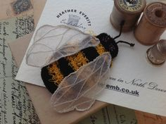 Bee Brooch embroidered 7cm long. by Heatheremb on Etsy