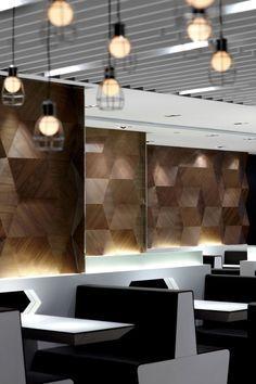Geometric shapes characterize a modern restaurant design in Hong Kong - Extraordinary hair Bar Interior, Restaurant Interior Design, Modern Interior Design, Interior Architecture, Modern Restaurant, Hotel Restaurant, Restaurant Lighting, Commercial Design, Commercial Interiors