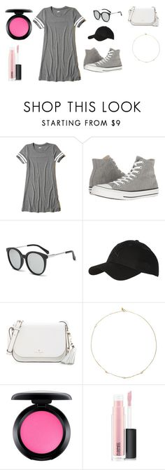 """""""Sans titre #5441"""" by yldr-merve ❤ liked on Polyvore featuring Hollister Co., Converse, Topshop, Kate Spade, Loren Stewart and MAC Cosmetics"""