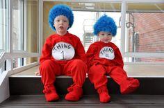 Kids as #Things1&2 #cutecostumes cute kids in their #homemadecostumes for #halloween #kidspajamas at  http://www.bigfeetpjs.com/pj-sleepwear/childrens-footy-pajamas-kids-juniors-footy-pjs.html #halloweencostume #bigfeetpjs