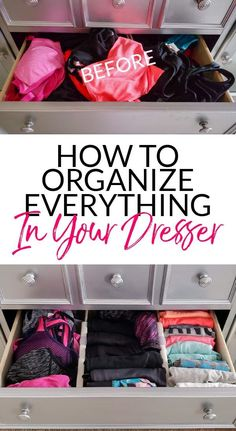 Ideas Clothes Closet Organisation Dresser Drawers Spaces For 2019 Dresser Drawer Organization, Dresser Organization, Organization Hacks, Organizing Ideas, Organizing Drawers, Organize Dresser Drawers, Tank Top Organization, Organising Tips, Closet Drawers