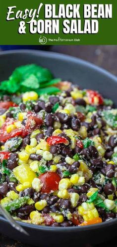 This easy black bean and corn salad is so not your average! Satisfying and super bright, thanks to lime juice and fresh herbs! Grab the full recipe. Corn Salad Recipes, Corn Salads, Spinach Recipes, Healthy Salad Recipes, Black Bean Corn Salad, Black Bean Salad Recipe, Mediterranean Dishes, Mediterranean Diet Recipes, Vegetarian Recipes Easy