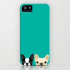 Boston Terrier & French Bulldog 2 iPhone & iPod Case by Anne Was Here - $35.00