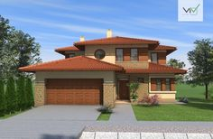 Emeletes családi ház 227 m2 Simple House Design, Modern House Design, Style At Home, Modern Family House, Tuscan House, House Elevation, Facade House, Design Case, My House