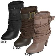 @Overstock.com - Journee Collection presents these fashion ankle boots to complement many styles. These boots have a unique, one-buckle display. They also showcase a dual tone appearance. These boots are made from faux leather and an almond, smooth toe.