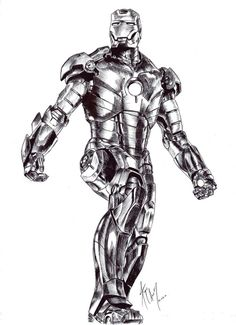 Iron man with a lot of ink. using a pen and a crosslines technique to create the shadows