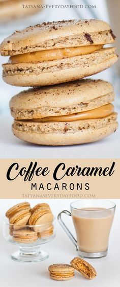 "These coffee macaron cookies are simply heavenly! A delicious combination of coffee and salted dulce de leche frosting! Macarons are easier to make than you think, just watch my step-by-step video! Click below on the ""HOW-TO"" tab to see my video recipe."