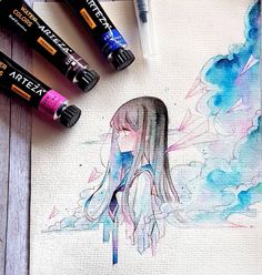 Since we've been the go-to site for watercolor techniques, watercolor painting ideas & watercolor tutorials. Learn how to paint! Manga Watercolor, Watercolor Illustration, Watercolor Paintings, Forest Illustration, Beautiful Drawings, Cool Drawings, Manga Art, Anime Art, Copic