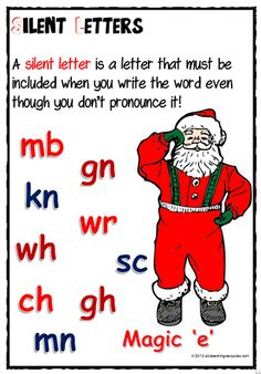 Christmas | Silent Letters| Spelling Rule | Charts. The resource has a silent letter spelling rule definition and a list of silent letter combinations. Santa hats display the silent letter combinations. Ideal for wall display to assist students with their recognition and the spelling of words with silent letters.