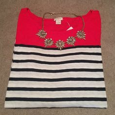 J. Crew stripped red color block top NWT!! 3/4 length sleeves stripped J.Crew top. Perfect for the holidays. Great matched with a cute necklace or scarf. Stripes are navy and white. Bundle and save! Make me an offer  J. Crew Tops