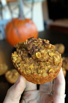 Pumpkin Oatmeal Cups...pumpkin, almond milk, eggs, baking powder, oats, pumpkin pie spice, brown sugar