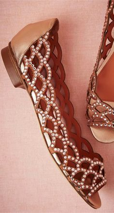 Brown Flats with Embroidered Detail for Spring find more women fashion ideas on www.misspool.com