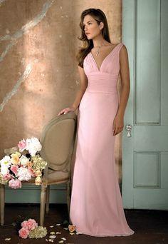 Wholesale Cheap Customer-Made Column Pink V-Neck Empire Wasit Chiffon Beach Floor Length Satin Bridal Dress