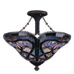 Trans Globe Lighting 263588 Three Light Tiffany Style Leaded Glass Semi Flush Ceiling Mount in Bronze Finish   Quality Discount Lighting