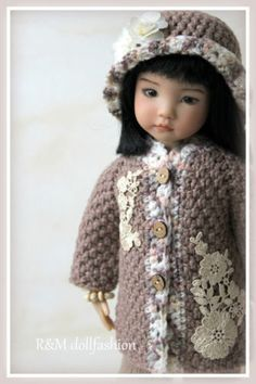"OOAK hand-knit outfit by R&M DOLLFASHION - NATURAL LINE for Effner 13"" dolls"