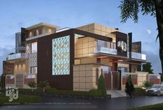MODERN #BUNGALOW EXTERIOR  #3DRENDER NIGHT VIEW BY www.hs3dindia.com @nirlepkaur_id