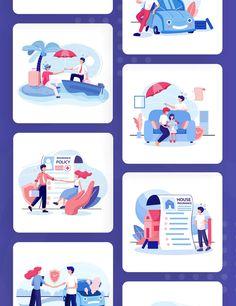 Insurance Service Vector Illustrations
