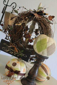 Argyle Pumpkins from Lolly Jane; 15 Inspiring DIY Pumpkin Decorating Tutorials