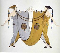 """Sisters"" by Erté (Romain de Tirtoff), Russian-born French artist. (1892 – 1990). High Resolution. #artdeco"