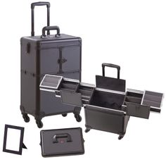4 Wheel Spinner Rolling Makeup Case with 5 Trays All Black Aluminum only $129.95 plus free shipping!
