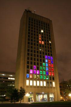 MIT students + Cambridge Green Building = Tetris IRL
