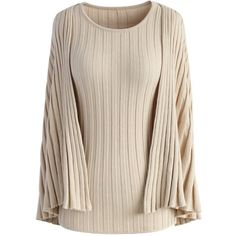 bf714594b1bd Chicwish Fight for Style Top with Cape Sleeves in Nude ( 51) ❤ liked on