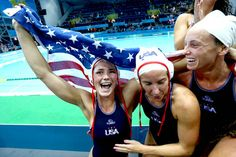 Team USA celebrate winning gold in women's water polo with a victory over Spain