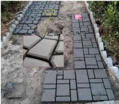 Garden paving plastic mold for garden concrete molds for garden path DIY Stone Paving mold, pathmate shovel Backyard Projects, Backyard Patio, Garden Projects, Backyard Landscaping, Concrete Pavers, Concrete Garden, Concrete Molds, Paver Sand, Stone Walkway