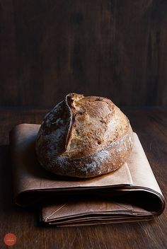 Homemade bread with wild yeast made from apples and dried figs. By Sylvain Vernay.