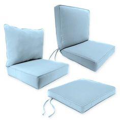 Outdoor Seat Cushion Collection in Sunbrella® Canvas Air Blue - BedBathandBeyond.com