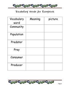 Here's a packet with vocabulary activities for studying ecosystems.