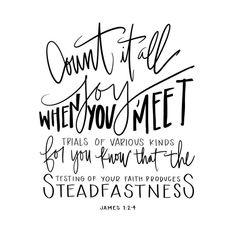 Hand lettered Digital Print  James 1:2-4 Bible Verse  | Etsy