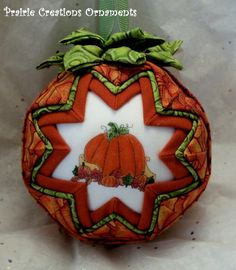 Pumpkin Quilted Fall Quilt Ball Ornament SALE