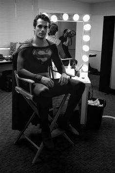 Henry Cavill in Christopher Reeve's Superman costume (screen test for Man of Steel).