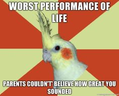 "Or you give the best performance of your life. Mom whispers to person next to her ""It's okay, she's just nervous!"""