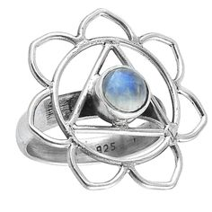Image of Sterling Silver & Rainbow Moonstone Third Eye Chakra Ring