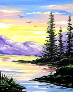 Pastel colored painting of river evergreens sunset. Beginner painting idea. Paint Nite events near Portland, OR | Paint Nite