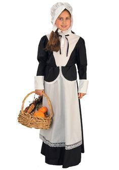 This Girls Pilgrim Costume is fun for Thanksgiving, for plays or other holiday events. It's also a great kids Halloween costume.