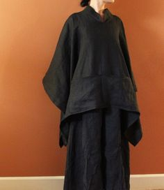 custom heavy linen swallow poncho coat by annyschooecoclothing, - pajamas version
