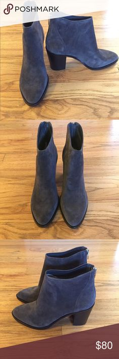 """Dolce Vita Stevie Suede Booties 100% suede in a gorgeous anthracite color. 3.5"""" heel height, 5.5"""" shaft height, and 11"""" leg circumference. Box has a small dent on the bottom. Dolce Vita Shoes Ankle Boots & Booties"""