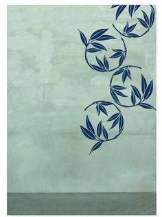 Bamboo-motif wall graphic