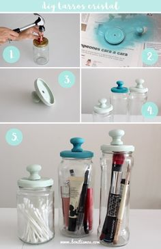 32 Creative Mason Jar Organizer Ideas To Make In A Charming Way .- 32 creative mason jar organizer ideas to save space in a charming way - Pot Mason, Mason Jar Crafts, Bottle Crafts, Mason Jars, Mason Jar Bathroom, Diy Home Decor Projects, Diy Home Crafts, Decor Crafts, Apothecary Jars