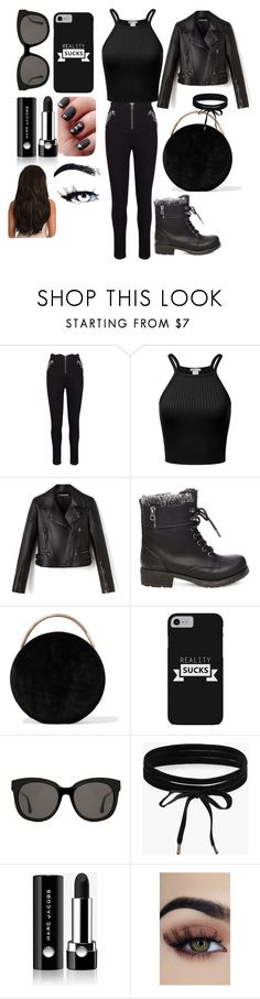 """""""Black"""" by jaelynnscruggs ❤ liked on Polyvore featuring Steve Madden, Eddie Borgo, Gentle Monster, Boohoo and Marc Jacobs"""