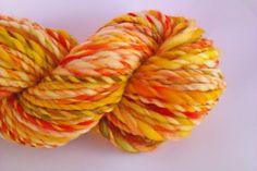 Mango bliss   hand spun yarn Pure 19 micron 70s by misterstiltskin, $17.50
