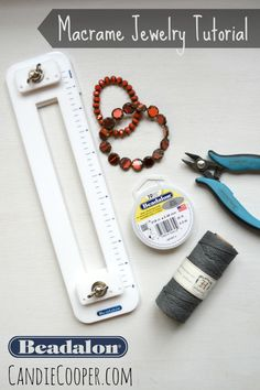 Macrame tying station tool and beading supplies from Beadalon