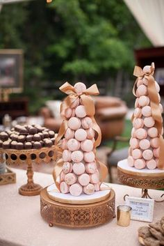 Cherry Blossom Cake Stands (set of Blush and Gold Wedding Macaron Tower on Opulent Treasures Antique Gold Cake Stands Wedding Cake Stands, Wedding Cake Toppers, Wedding Cakes, Gold Cake Stand, Metal Cake Stand, Dessert Stand, Dessert Table, Cherry Blossom Party, Macaroon Tower